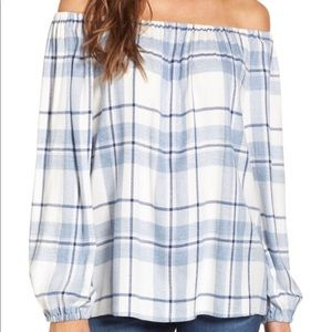 Two by Vince Camuto Plaid Off-Shoulder Top, L NWOT